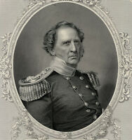 WINFIELD SCOTT Cartouche 1856 engraving Hero of Mexico Niagara Civil War