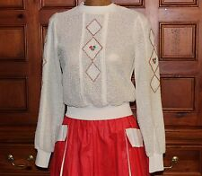 VTG 50's OPEN WEAVE SUMMER WEIGHT PULL OVER COTTON LONG SLEEVE SWEATER FLOWERS