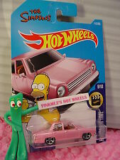 THE SIMPSONS family car #112✰pink; mc5✰doh✰SCREEN TIME✰2017 i Hot Wheels case F