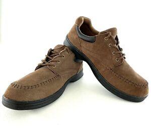 Dr Scholls Mens 11W Captain Oxford Comfort Shoes Brown Leather Low Top Moc Toe