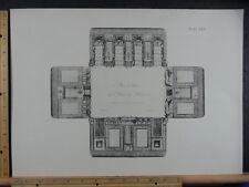 Rare Antique Original VTG Period Ornate Floorplan Design Engraving Art Print