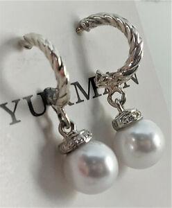 David yurman Solari Freshwater Pearl & Diamond Hoop Earrings