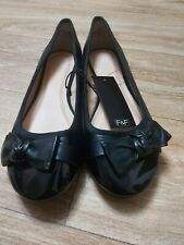 F & F Black Bow Ballerina Slip On's Flat Shoes Size 8 NWT