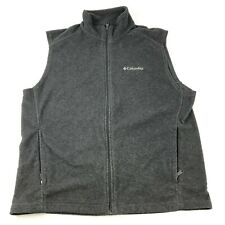 Columbia Fleece Jacket Vest Mens L Gray Sleeveless Full Zip Up Mock Neck