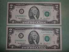 Lot of 2 - 2003 A $2 DOLLAR BILL FANCY NOTE CONSECUTIVE SERIAL NUMBERS (a)