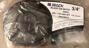 "Brady BMP21 Plus Series Label Cartridge M21-750-595-WT Black On White Vinyl 3/4"""