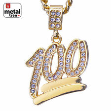 "Men's Mini Hip Hop Iced Out 100 Emoji Pendant 24"" Cuban Link Necklace CPB 1068 G"