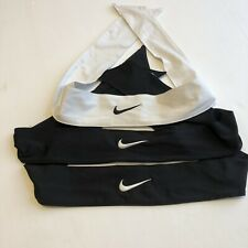 """Nike Head Tie 2"""" With Embroidered Swoosh Stretchy Set Of 3 Black White"""