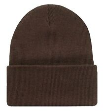 Solid Color Long Cuffed Blank Winter Beanie Brown
