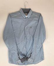 Lacoste men man shirt stripe blue and white size 40
