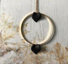 Black Lucite Leaf And Gold Colour Hoop Necklace