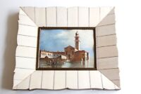 Antique Framed Signed Miniature Oil Painting of Venice Italy Canal