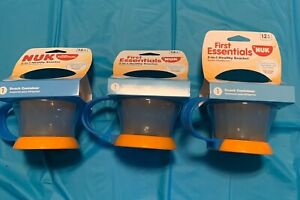 3~Nuk First Essentials 2 in 1 Healthy Snacker Food Container - Orange/Blue