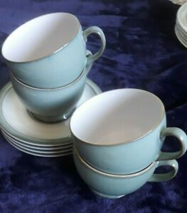 Denby Coffee/Tea Cups and Saucers  in Regency Green x 4