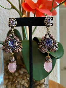 HEIDI DAUS NEW BOLD & BEAUTIFUL PINK RAVEN EARRINGS PIERCED BACKS WOW