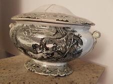 Rara Zuppiera '800 Palme Lasso da restaurare ceramica con cavalli da collezione