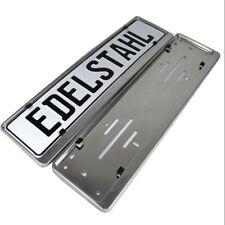 2 Kennzeichenhalter 100% EDELSTAHL 46cm poliert Chrom Kennzeichenhalterung 460mm