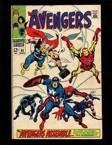 Avengers #58 FN- Buscema Origins Vision & Ultron Black Panther Black Widow Hulk