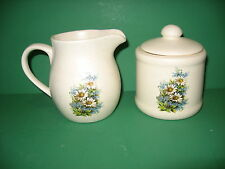 BLUE FLOWER  SUGAR  BOWL  AND  CREAMER  CERAMIC      MADE  IN  USA