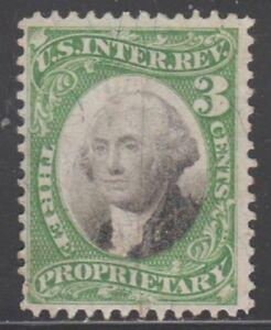 US Revenue (Scott RB3a) 1871 3c green & black on Violet Paper PROPRIETARY Used