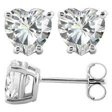 925 Silver Heart Earrings Clear CZ Studs Love Nickel Free Fine Jewellry