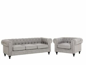 Classic Chesterfield 3 Seater + Armchair Sofa Set Light Grey Fabric Chesterfield