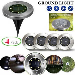 8 LED Solar Disk Lights Ground Buried Garden Lawn Deck Path Outdoor Waterproof