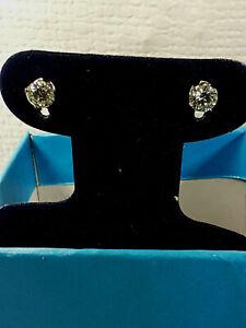 1 Carat Moissanite Stud Earrings in 14K white gold