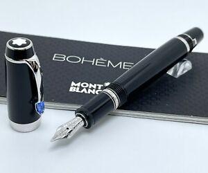 Montblanc Boheme Blue Sapphire Gemstone Fountain Pen Retractable 14K Gold Nib
