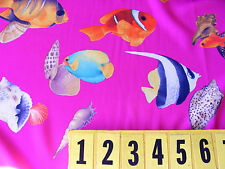 Polyester Fabric Cerise Pink Tropical Fish 150cm Wide off the roll - New by Dcf