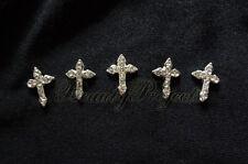 (5pcs) shiny silver 3D cross charm rhinestone nail art charms acrylic gel A85