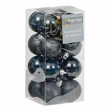 Christmas Tree Decoration 16 Pack 50mm Shatterproof Baubles - Black
