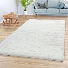 Teppich Wohnzimmer Hochflor Shaggy Weich Modernes Einfarbiges Design In Weiß