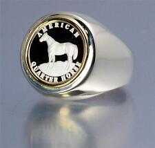 .999 PURE SILVER Quarter Horse Coin in Sterling Silver & 14kt Ring Size 11