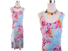 La Rochelle Ladies Retro Vtg 90s Summer Floral Sexy Casual Midi Dress sz 36 AW31