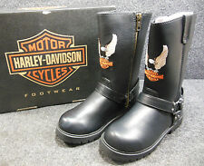 New Harley Harness Kids Youth Black Zip High Boots w/ Eagle Size 4 D61011 C163
