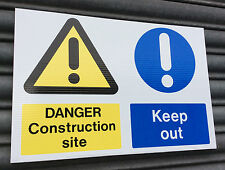 Danger Construction Site Keep Out site safety sign TWIN PACK 500 x 330mm