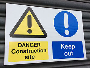 Danger Construction Site Keep Out site safety sign Trade pack of TEN 500 x 330mm