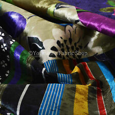 10 Metres of British Design Print Velvet Patchwork Pattern Upholstery Fabric