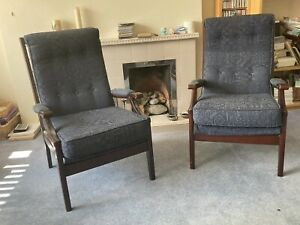 Cintique pair of vintage 60's fireside armchairs