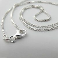 """1.2mm Box Chain Necklace - 925 Sterling Silver - Italy 16"""", 18"""", 20"""", 22"""", 24"""""""