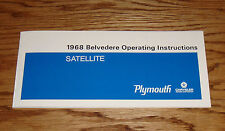 1968 Plymouth Belvedere Satellite Owners Operators Manual 68