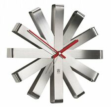 Umbra RIBBON WALL CLOCK Silver STAINLESS STEEL 30cm in diam