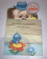 Vintage 1970's American Greetings Grandpa Birthday Card Puppy Dog Bird Used
