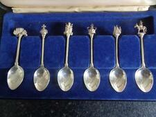 Cased Set of 6 Hallmarked Solid Silver Spoons - Silver Jubilee QEII - 1977