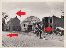 731, Presse PK Foto Soldat mit Fahrrad im zerstörtem Frankreich !