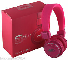 NIA MRH-8809 Micro SD/FM Radio/MP3 Player Stereo Headphones With MIC Pink