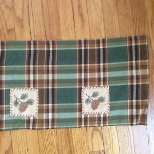 "Park Designs Pine Cone Patch Lined Valance 60"" X 14"" Brown/ Green Plaid"