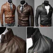Hombre PU Cuero Chaqueta Slim Fit Biker Moto Chaqueta Abrigo Prendas de abrigo prendas informales