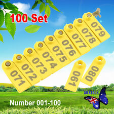 100Pcs Goat Sheep Pig Cattle Beef Plastic Livestock Ear Tag Number Tags Yellow A